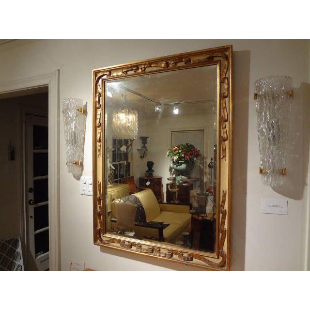 Glass Italian Rectangular Painted and Gilt Wood Beveled Mirror For Sale - Image 7 of 9