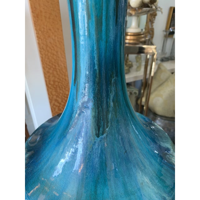 1960s Pair of Drip Glaze Mid Century Lamps For Sale - Image 5 of 8