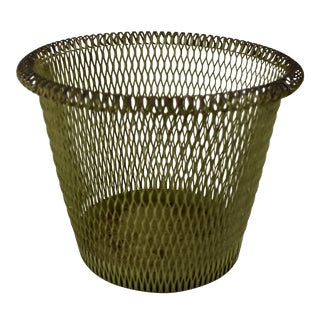 Late 19th Century French Moss Green Rolled Rim Metal Basket For Sale
