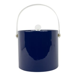 Mid Century Navy Blue and Lucite Ice Bucket
