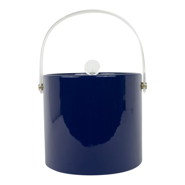 Mid Century Navy Blue and Lucite Ice Bucket - Image 1 of 10