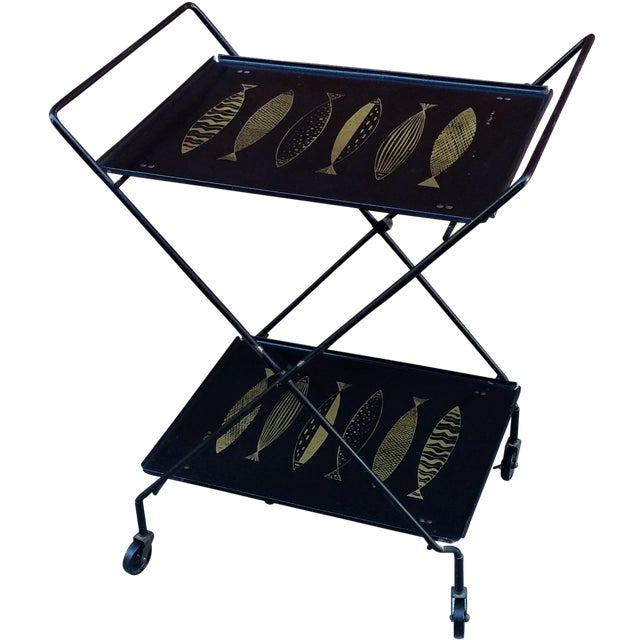 Fred Press Folding Bar Cart with Fish - Image 1 of 8