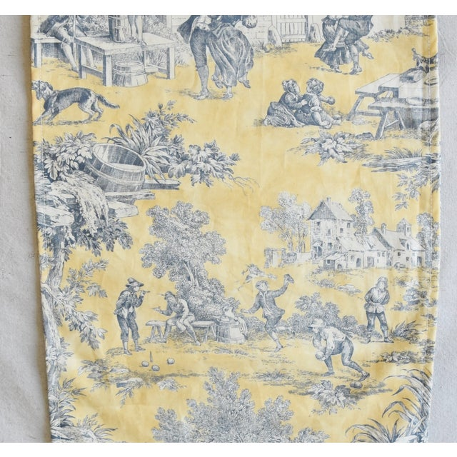 "Cotton Custom French Country Farmhouse Toile Table Runner 110"" Long For Sale - Image 7 of 9"