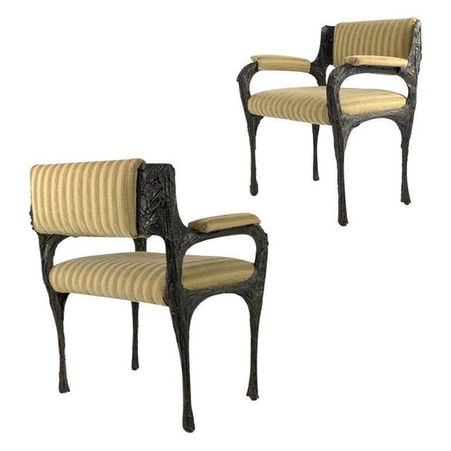 Pair of highly collectable Paul Evans sculpted bronze armchairs.PE 105 all original armchairs.