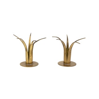 Vintage Ystad Sweden Brass Candle Holder Set For Sale