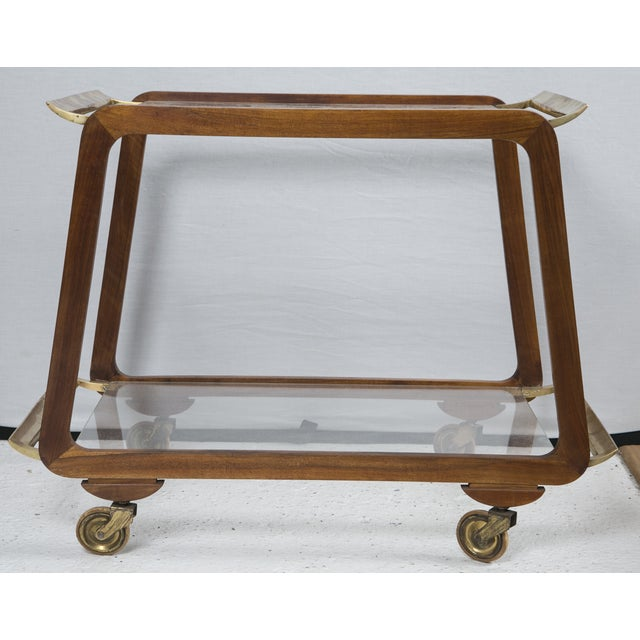 Mid-Century Austrian Walnut and Brass Bar Cart - Image 2 of 7