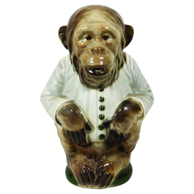 1900s Majolica Keller and Guerin Saint Clement Monkey Pitcher For Sale In Austin - Image 6 of 6