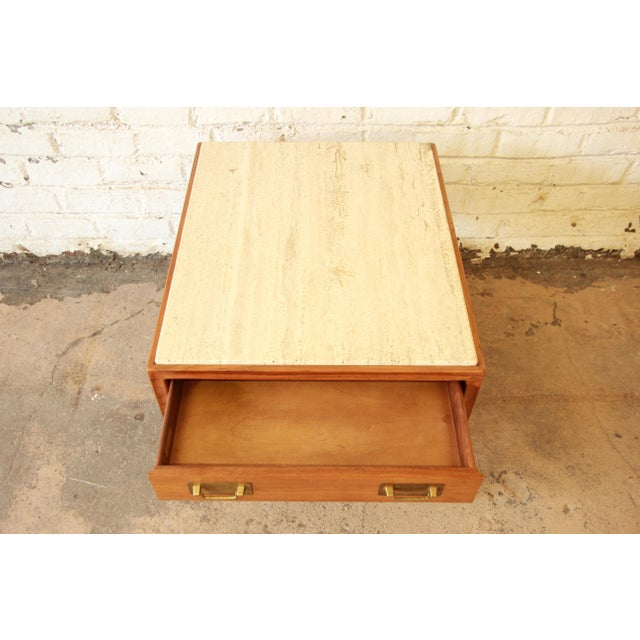 Gerry Zanck for Gregori Mid-Century Walnut & Travertine Side Table For Sale In South Bend - Image 6 of 11