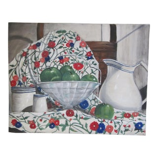Still Life Painting of White Pitcher & Green Apples on Flower Tablecloth For Sale