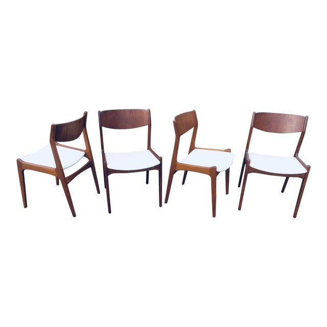 1960s Vintage Danish Modern Teak Dining Room Chairs- Set of 4 For Sale