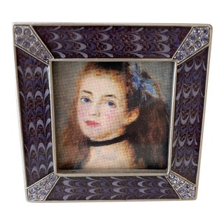 Late 20th Century Jay Strongwater Leland Classic Pave Corner Picture Frame For Sale