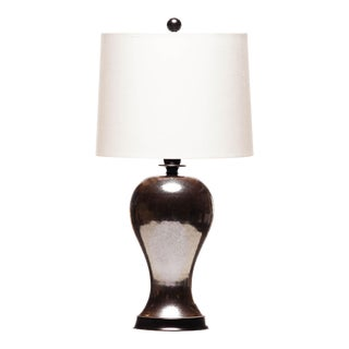 Lawrence & Scott Meiping Table Lamp With Gunmetal Glaze For Sale