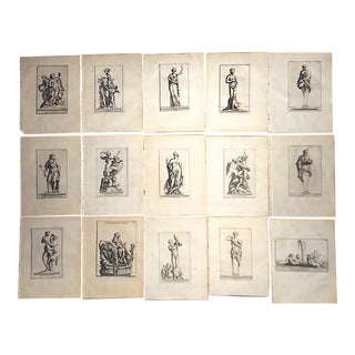 Antique 19th C. Engravings-Sculpture of Herculaneum & Pompeii-Set of 15 For Sale