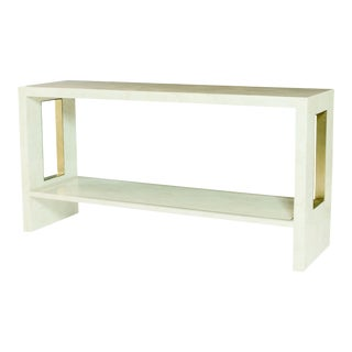 Century Furniture Crystal Stone and Brass Finish Console Table For Sale