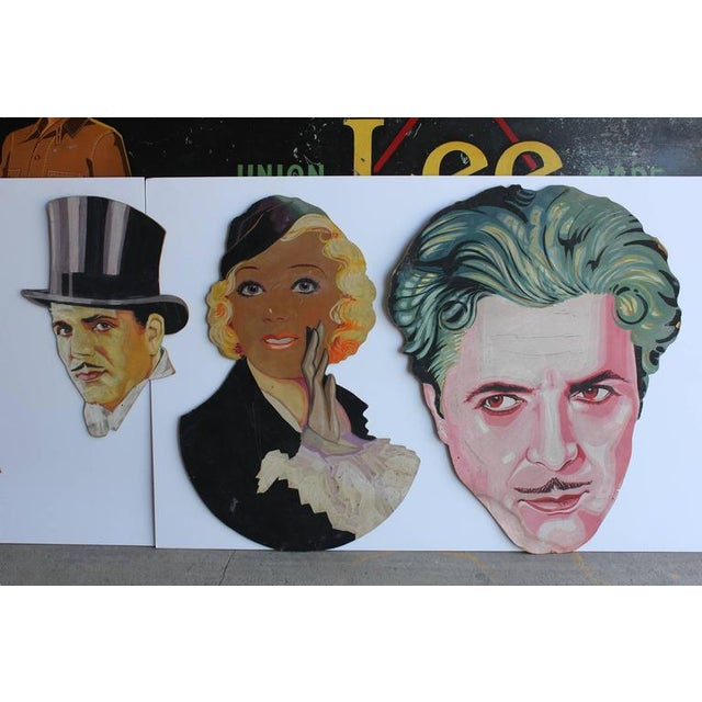 1930s hand-painted theater display actor portraits of William Powell, Maurice Chevalier, Carole Lombard, Ronald Coleman,...