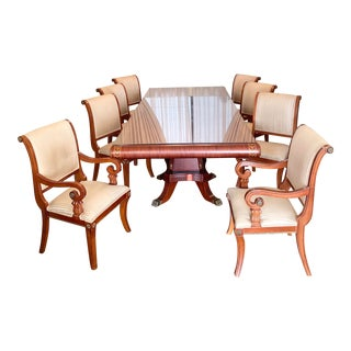 Vintage Regency Style Empire Mahogany Dining Set - 9 Pieces For Sale