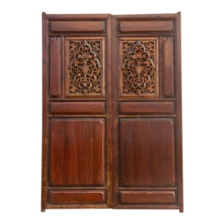 Imposing Carved Medallion Chinese Doors For Sale