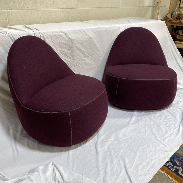 Contemporary Bernhardt Contemporary Plum Club Chairs - Pair For Sale - Image 3 of 13