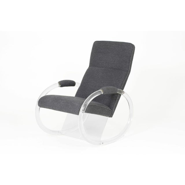 A chic, 1970's lucite rocker with steel gray alpaca upholstery. In perfect condition. Seat measurements: 19.5 inches high...