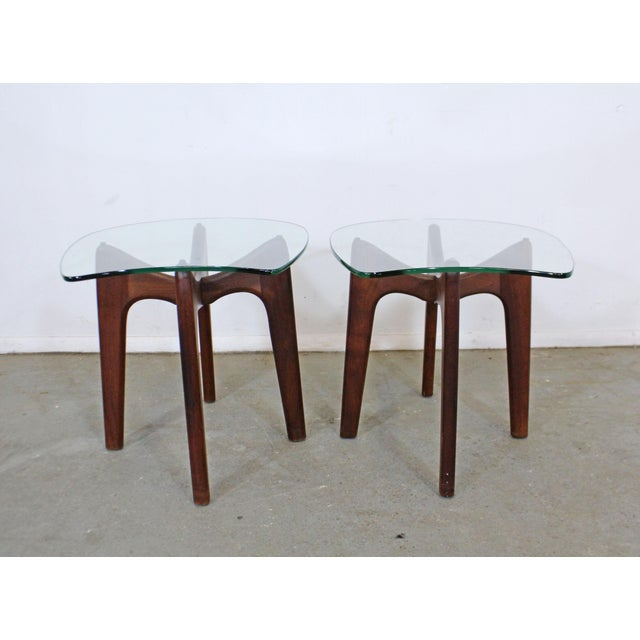 1960s Pair of Mid-Century Danish Modern Adrian Pearsall Stingray Glass Top End Tables For Sale - Image 5 of 13