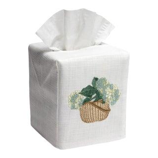 Cream/Blue Hydrangea Basket Tissue Box Cover in White & Cotton, Embroidered For Sale