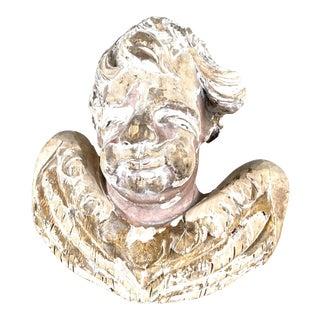 17th Century Italian Carved Wood Cherub Head For Sale