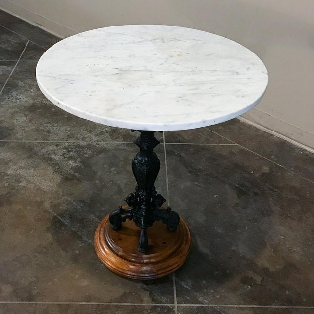 Belle Epoque 19th Century Cast Iron Marble Top Café Table For Sale - Image 3 of 11