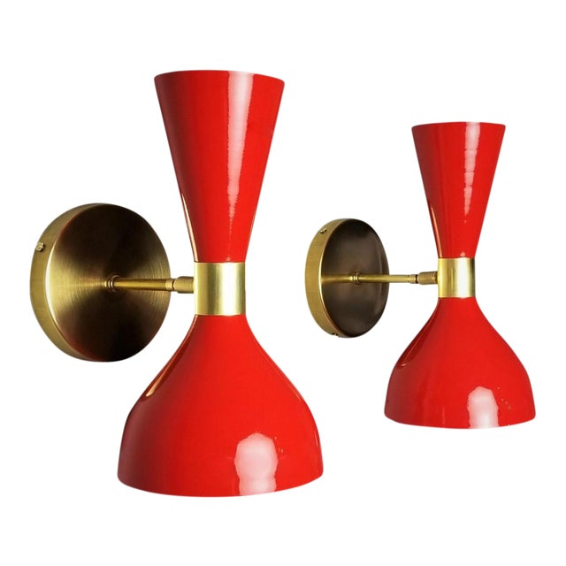 "Italian Modern Brass and Enamel ""Ludo"" Wall Sconces Blueprint Lighting - A Pair For Sale"