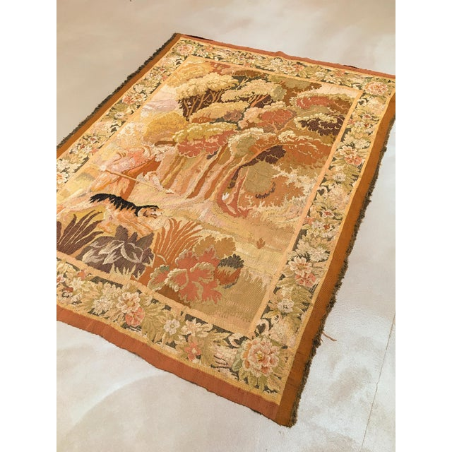 """Antique Old World Hunting Tapestry, Circa 1900, 4'10"""" X 6'5"""" For Sale - Image 10 of 11"""