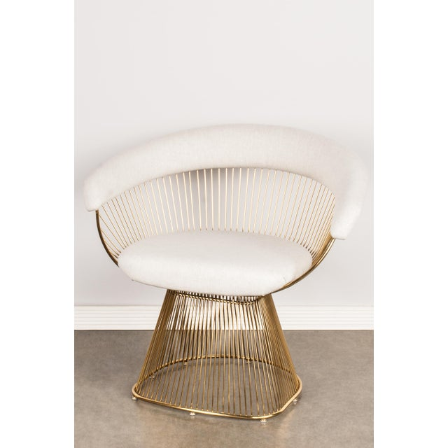 Mid-Century Modern Soleil Gold & Light Gray Accent Chair For Sale - Image 4 of 4