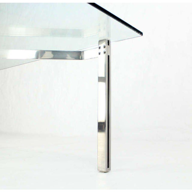 Early 20th Century Mid-Century Modern Solid Chrome and Glass-Top Coffee Table by Kjaerholm For Sale - Image 5 of 6