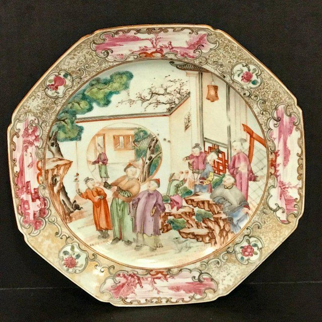 Red 18th Century Chinese Export Famille Verte Octagonal Plate For Sale - Image 8 of 13