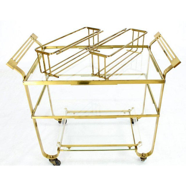 Solid Brass and Glass Mid-Century Modern Bar Cart For Sale - Image 9 of 9
