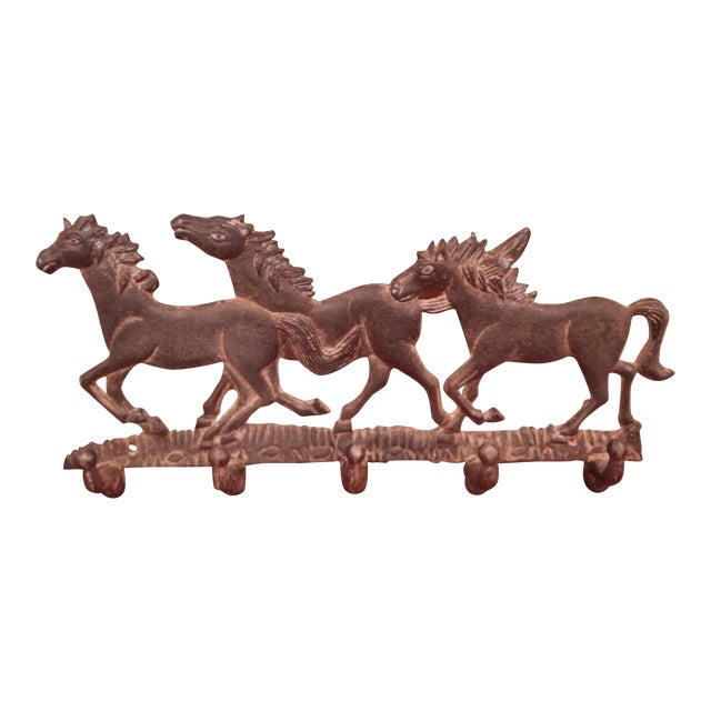 Running Ponies Cast Iron Wall Rack For Sale