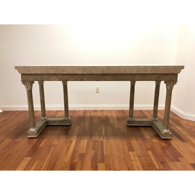 1970s Maitland-Smith Console Sofa Table Tessellated Neoclassical Fossil Stone and Marble For Sale - Image 6 of 10