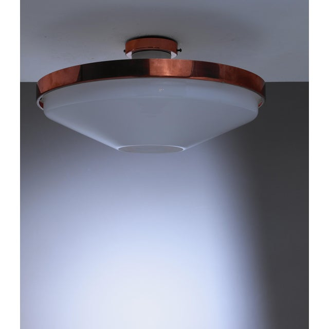 Mid-Century Modern Itsu Plexiglass and Copper Ceiling Lamp, Finland, 1950s For Sale - Image 3 of 3