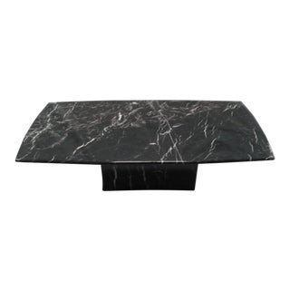 20th Century Italian Nero Marquina Marble Coffee Table on Marble Base For Sale