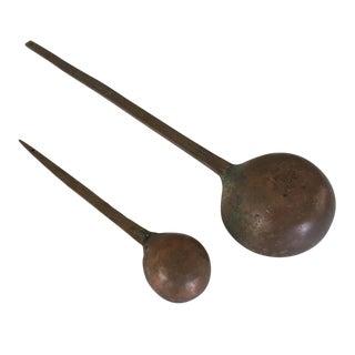 Antique Copper Measuring Serving Spoon Set of 2 For Sale