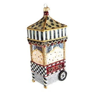 Modern Mackenzie Childs Boardwalk Courtly Check Blown Glass Christmas Tree Ornament For Sale