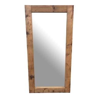 Custom Full Length Mirror + Waxed Oak Frame For Sale