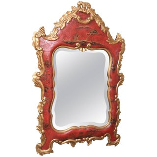 Vintage Red Chippendale Style Chinoiserie Gilt and Hand-Painted Mirror For Sale