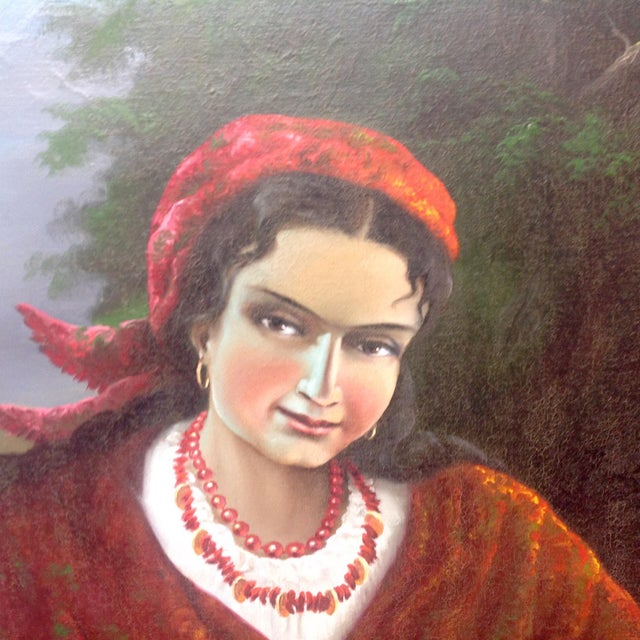 Vintage Gypsy Woman Oil Painting - Image 4 of 10