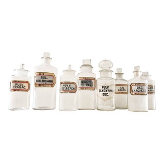 Late 19th Century Antique English Apothecary Jars- Set of 8 For Sale