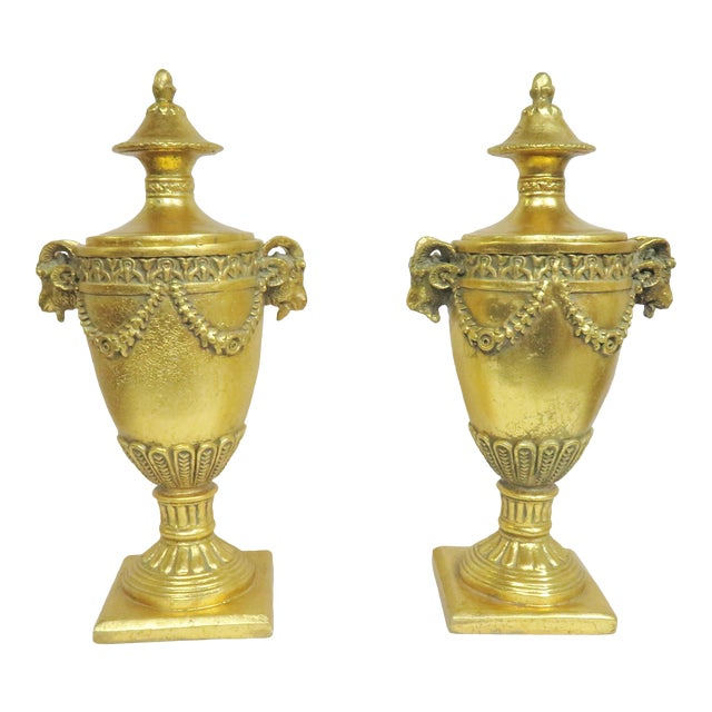 Neoclassical Gilt Carved Urns - a Pair For Sale