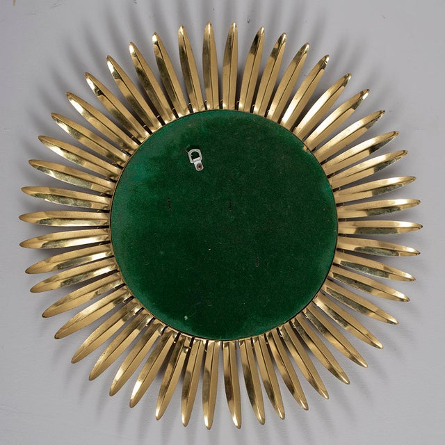 Gold Vintage Italian Metal Starburst With Convex Mirror For Sale - Image 8 of 10