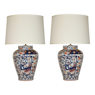 Pair of Red and Blue Imari Table Lamps