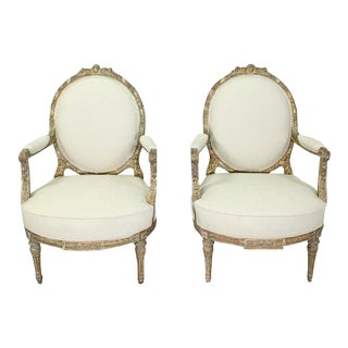 French Louis XVI-Style Carved Giltwood Chairs - a Pair For Sale