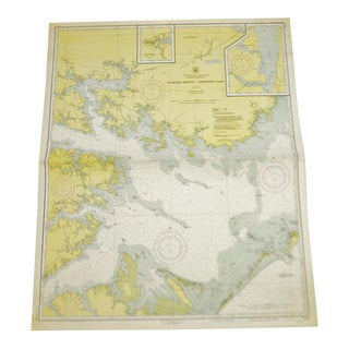 1951 United States East Coast North Carolina Pamlico Sound Western Part Nautical Chart No. 1231 For Sale