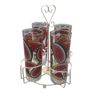 Vintage 60's Federal Glass Watermelon Slices Glasses With Metal Caddy - Set of 5 For Sale