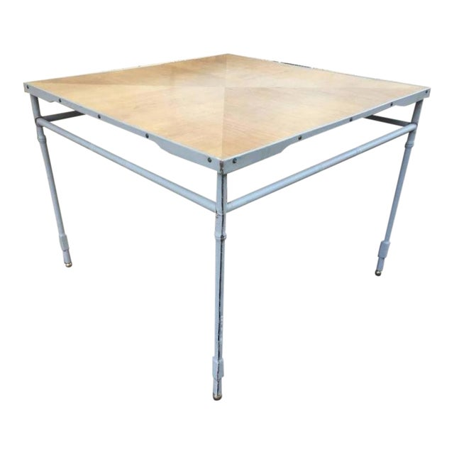 Jacques Adnet Hand-Stitched Leather Rare Table With Oak Sunburst Top For Sale